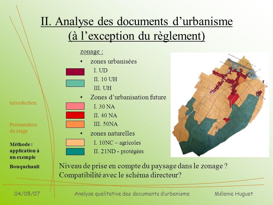 II. Analyse des documents d'urbanisme (à l'exception du règlement)