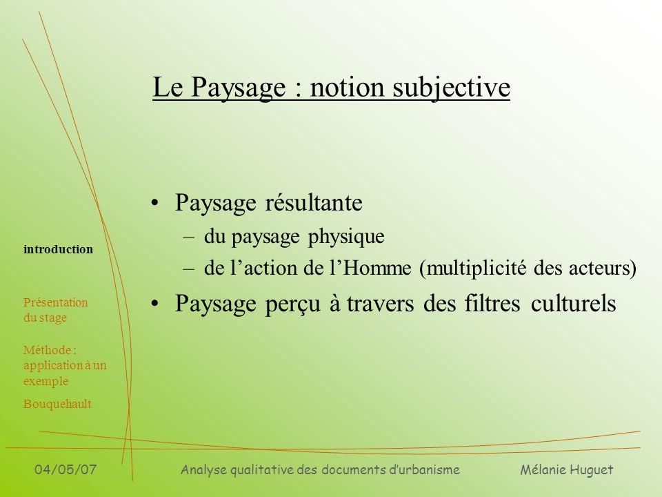 Le Paysage : notion subjective