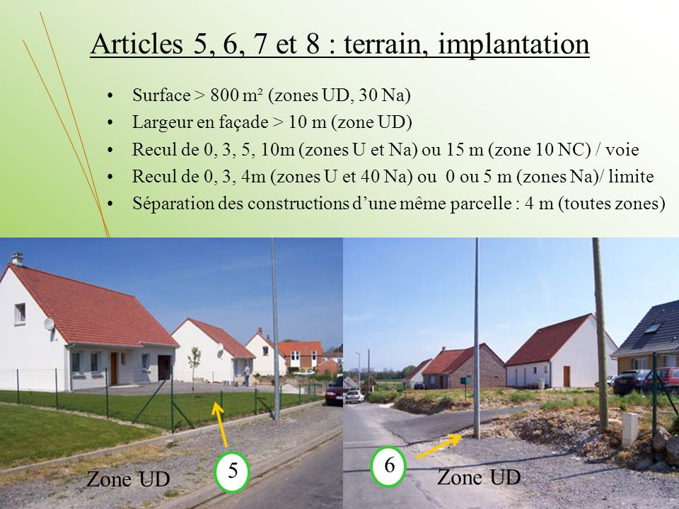 Articles 5, 6, 7 et 8 : terrain, implantation