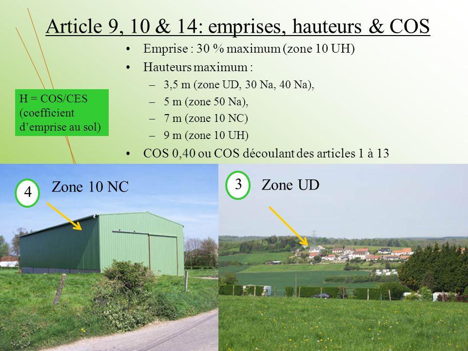 Article 9, 10 & 14: emprises, hauteurs & COS
