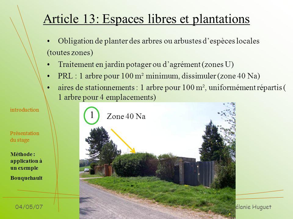 Article 13: Espaces libres et plantations