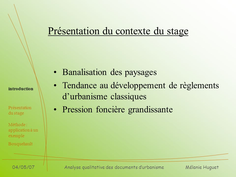 Présentation du contexte du stage