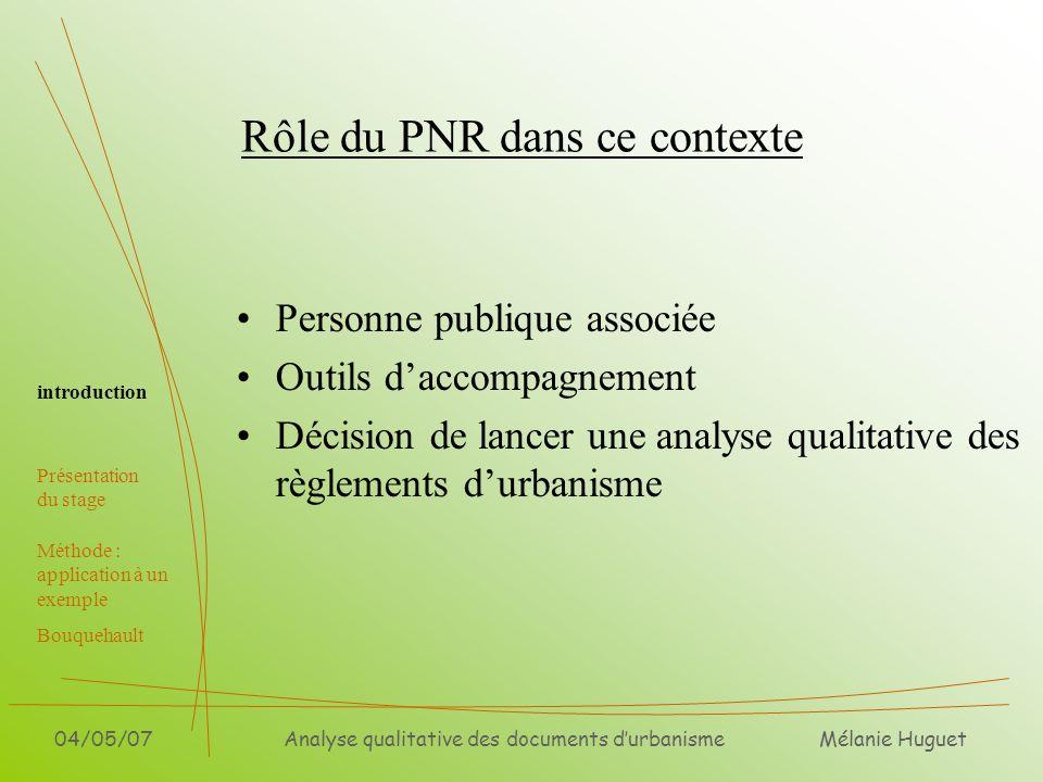 Rôle du PNR dans ce contexte