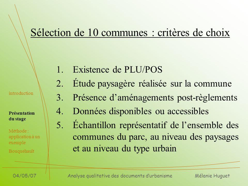 Sélection de 10 communes : critères de choix