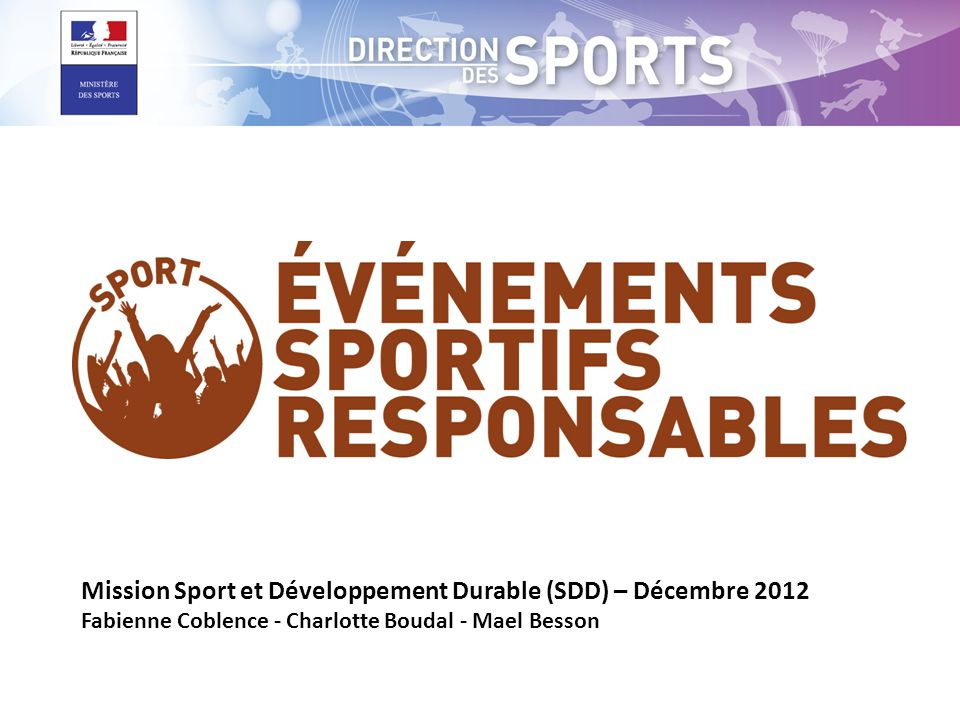 Mission Sport et Développement Durable (SDD) – Décembre 2012