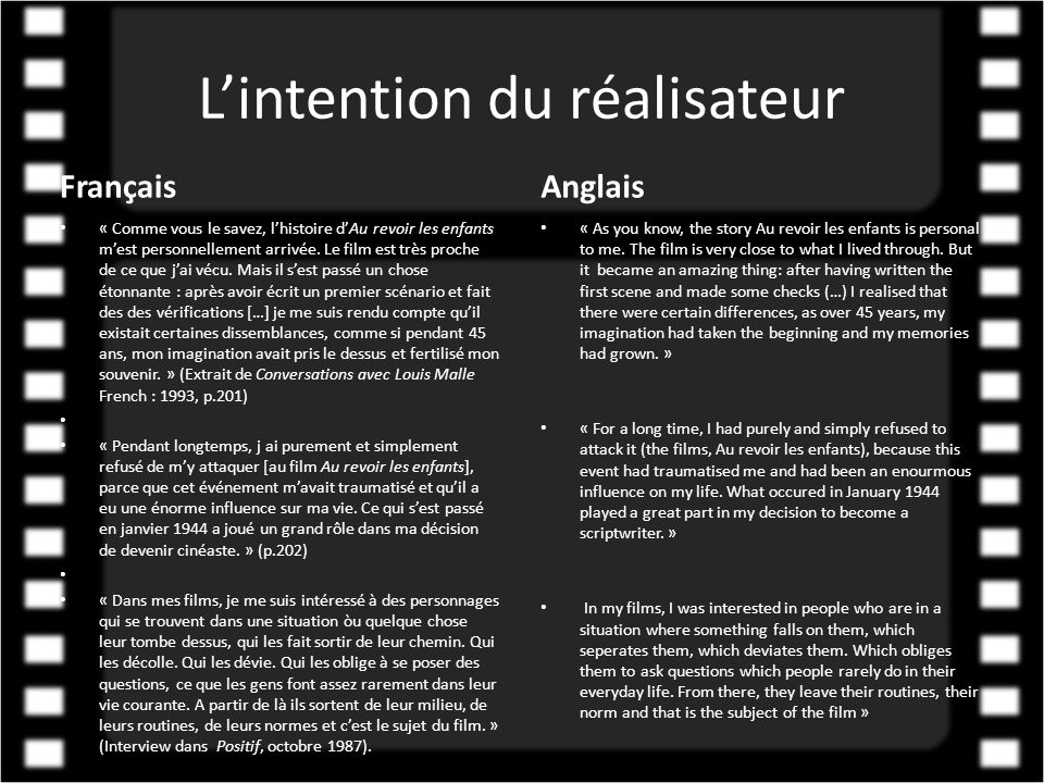 L'intention du réalisateur