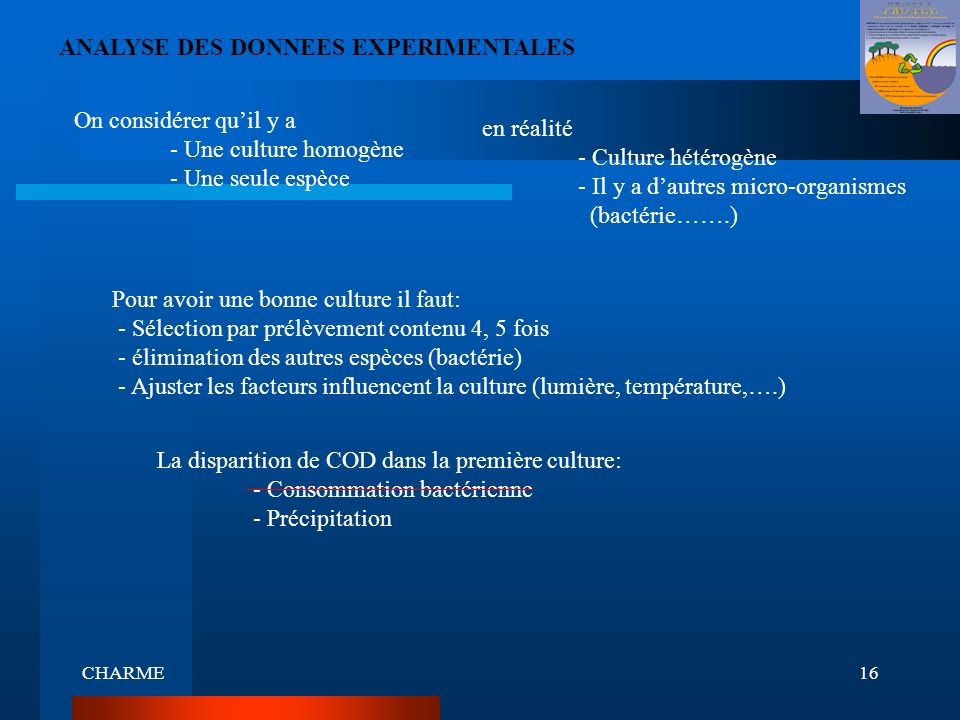ANALYSE DES DONNEES EXPERIMENTALES