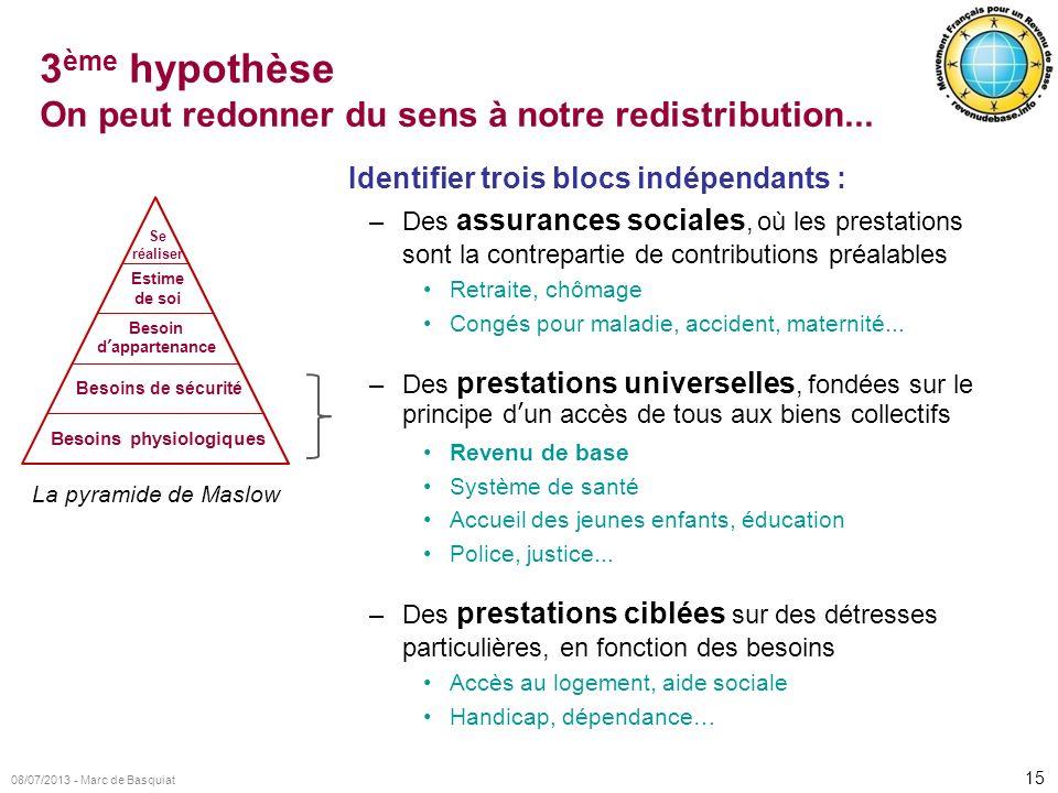 3ème hypothèse On peut redonner du sens à notre redistribution...
