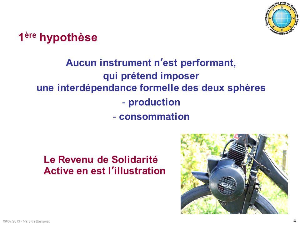 1ère hypothèse Aucun instrument n'est performant, qui prétend imposer une interdépendance formelle des deux sphères.