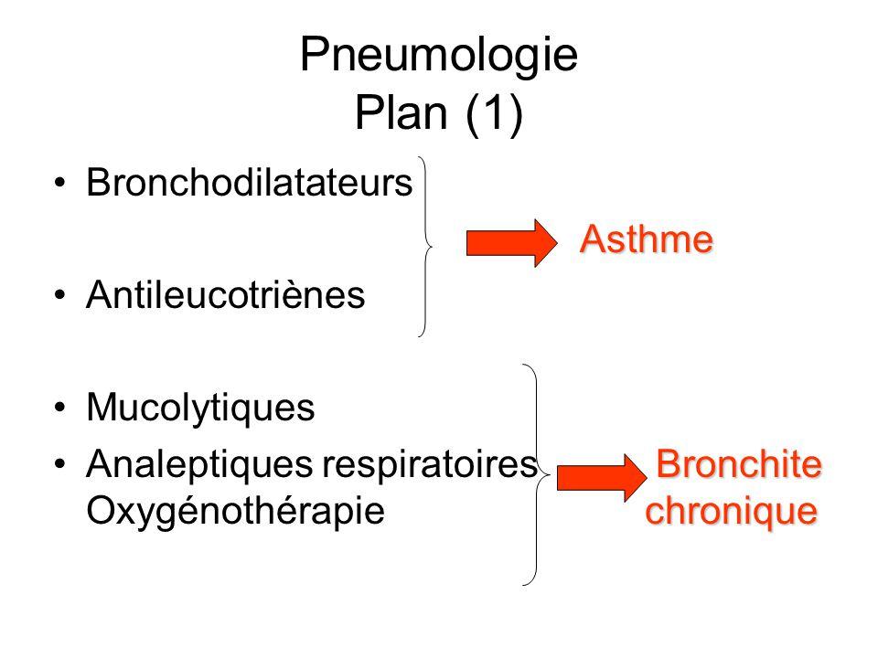 Pneumologie Plan (1) Bronchodilatateurs Asthme Antileucotriènes