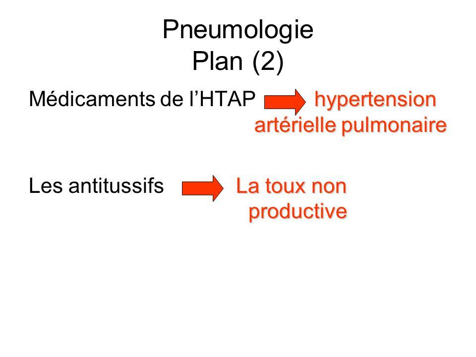 Pneumologie Plan (2) Médicaments de l'HTAP hypertension artérielle pulmonaire.