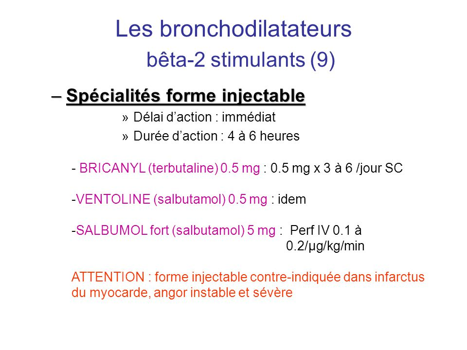 Les bronchodilatateurs bêta-2 stimulants (9)