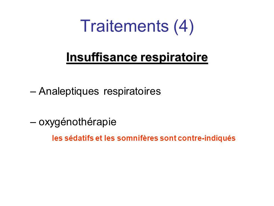 Traitements (4) Insuffisance respiratoire Analeptiques respiratoires