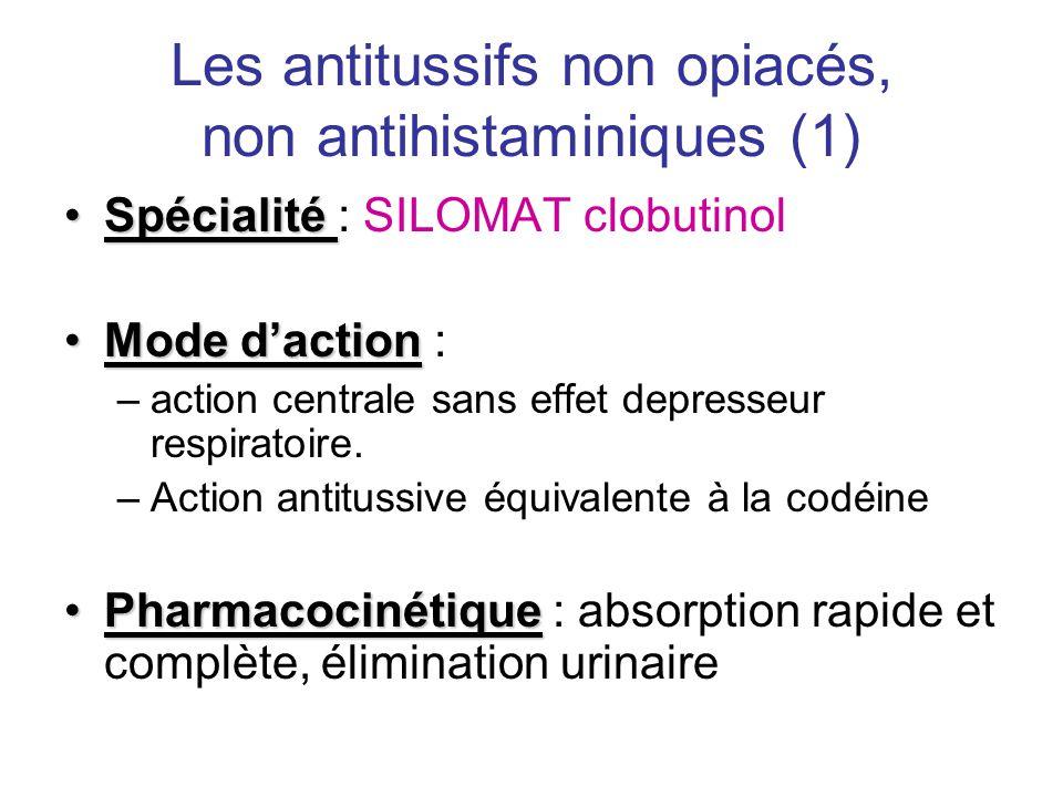 Les antitussifs non opiacés, non antihistaminiques (1)