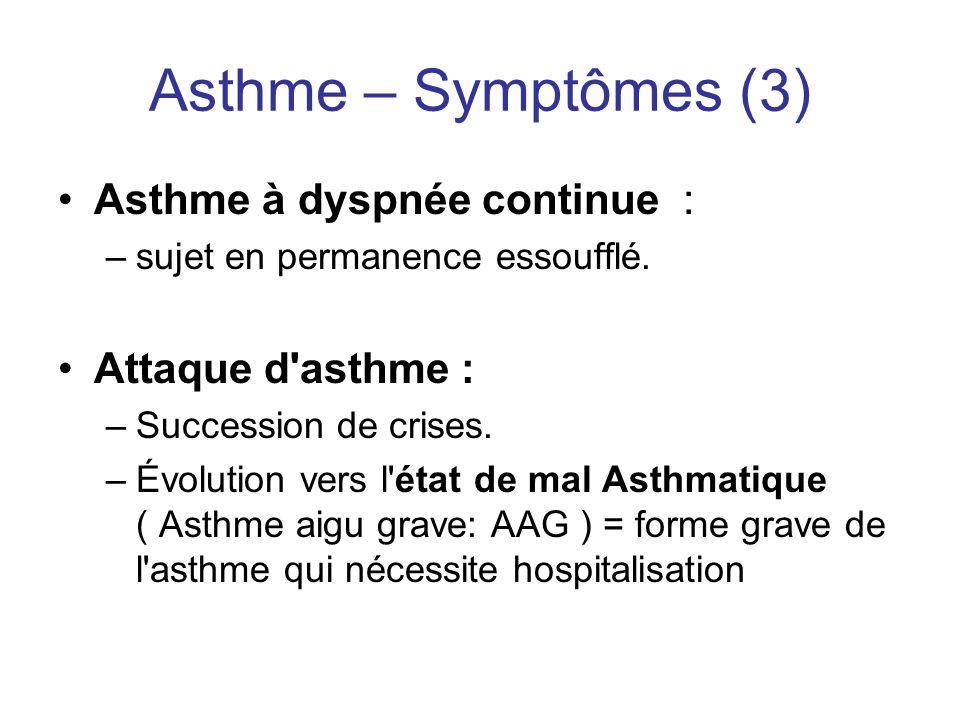 Asthme – Symptômes (3) Asthme à dyspnée continue : Attaque d asthme :