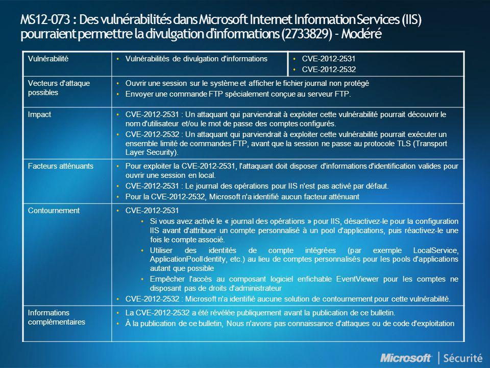 MS12-073 : Des vulnérabilités dans Microsoft Internet Information Services (IIS) pourraient permettre la divulgation d informations (2733829) - Modéré