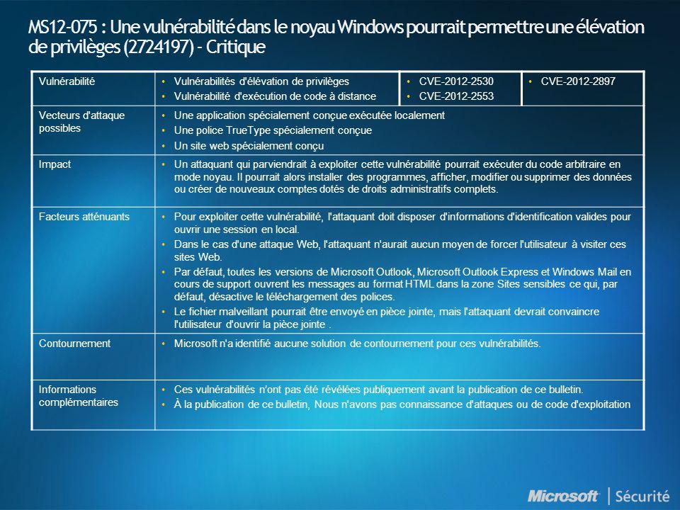 MS12-075 : Une vulnérabilité dans le noyau Windows pourrait permettre une élévation de privilèges (2724197) - Critique