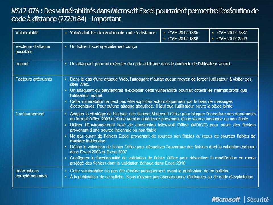 MS12-076 : Des vulnérabilités dans Microsoft Excel pourraient permettre l exécution de code à distance (2720184) - Important