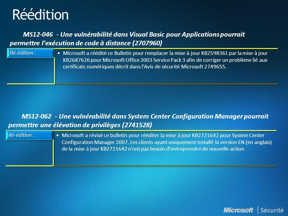 Réédition MS12-046 - Une vulnérabilité dans Visual Basic pour Applications pourrait permettre l exécution de code à distance (2707960)