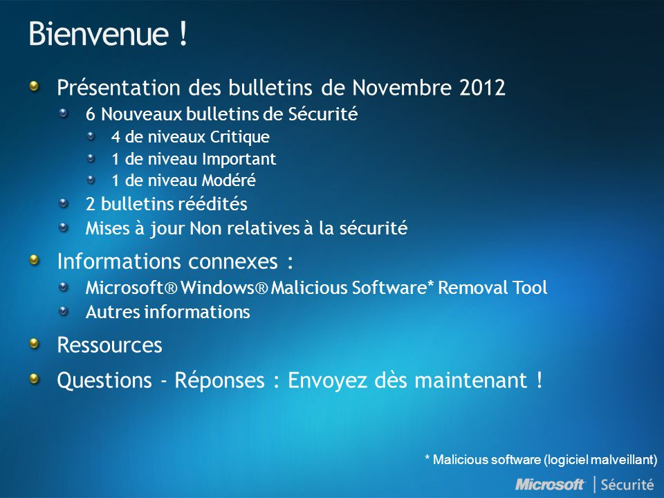 Bienvenue ! Présentation des bulletins de Novembre 2012