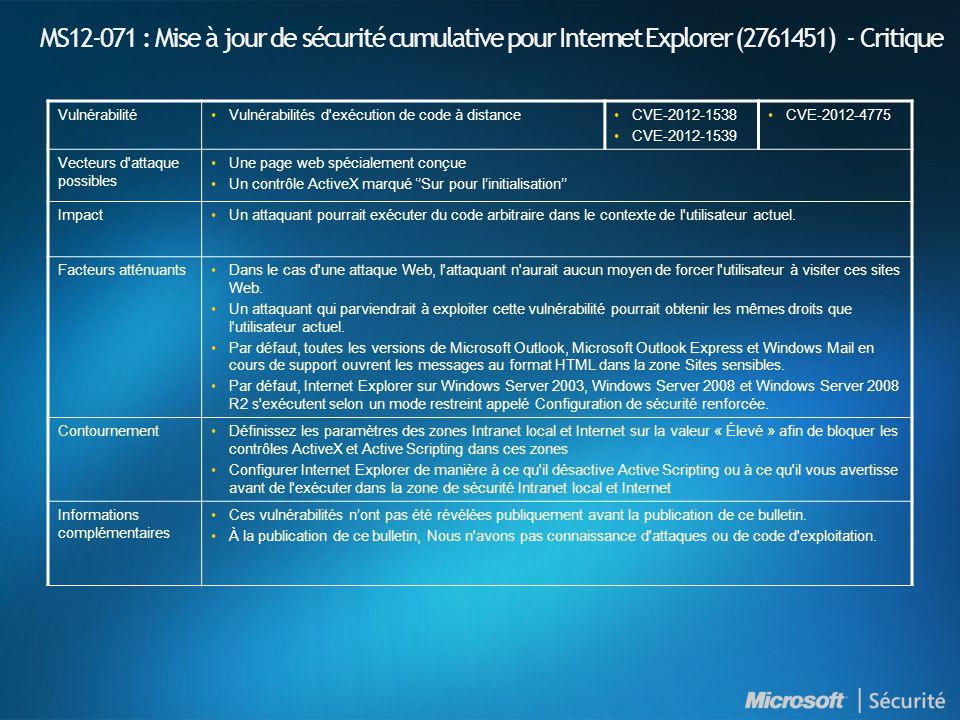 MS12-071 : Mise à jour de sécurité cumulative pour Internet Explorer (2761451) - Critique