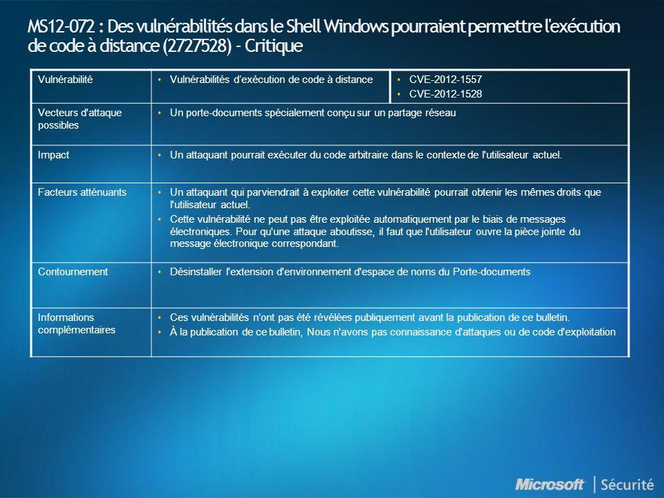 MS12-072 : Des vulnérabilités dans le Shell Windows pourraient permettre l exécution de code à distance (2727528) - Critique