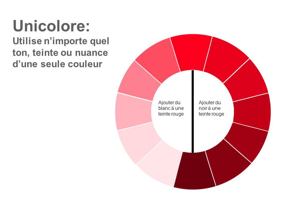 Unicolore: Utilise n'importe quel ton, teinte ou nuance d'une seule couleur. Ajouter du blanc à une teinte rouge.