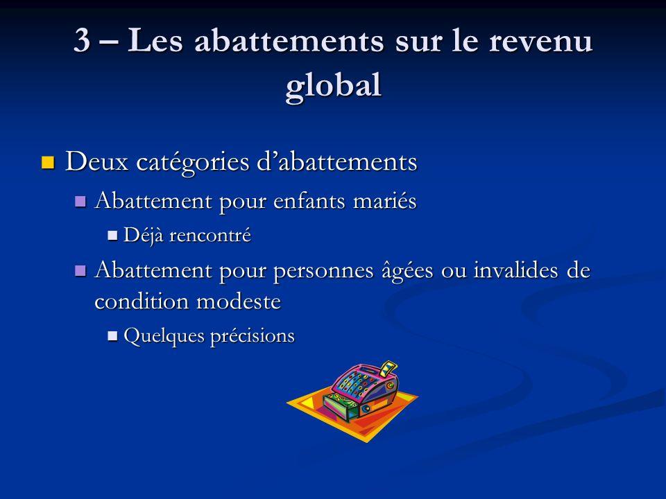 3 – Les abattements sur le revenu global