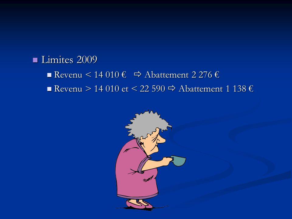 Limites 2009 Revenu < 14 010 €  Abattement 2 276 €