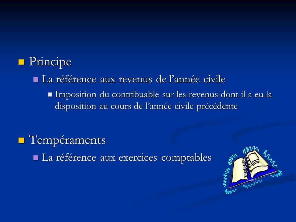 Principe Tempéraments La référence aux revenus de l'année civile