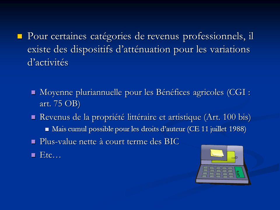 Pour certaines catégories de revenus professionnels, il existe des dispositifs d'atténuation pour les variations d'activités