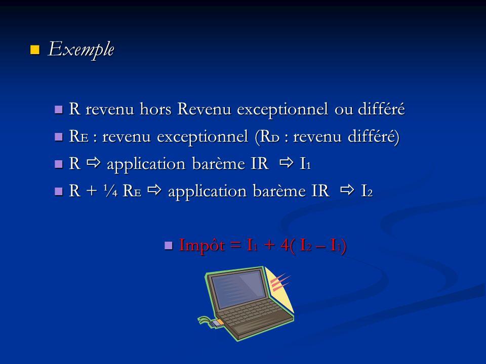 Exemple R revenu hors Revenu exceptionnel ou différé