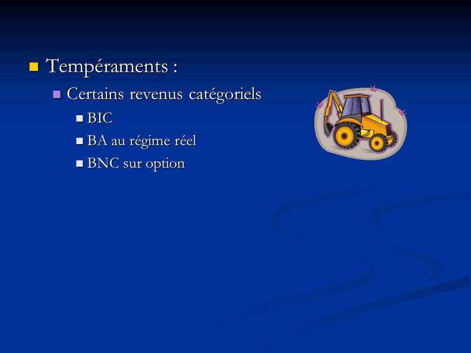 Tempéraments : Certains revenus catégoriels BIC BA au régime réel