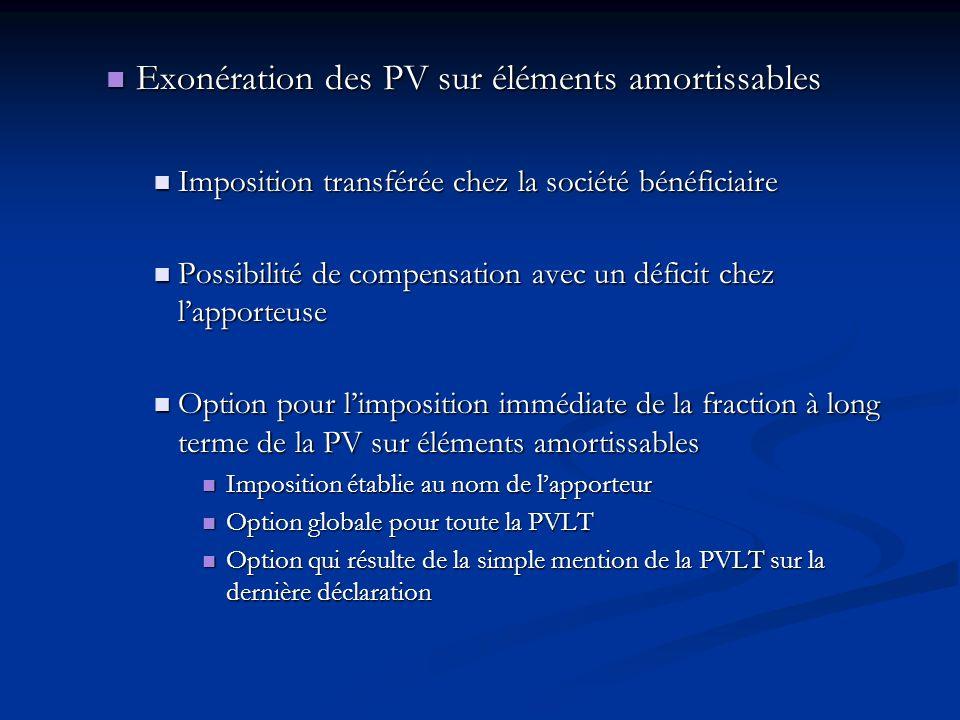 Exonération des PV sur éléments amortissables