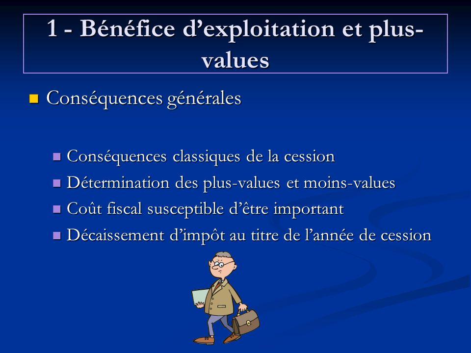 1 - Bénéfice d'exploitation et plus-values