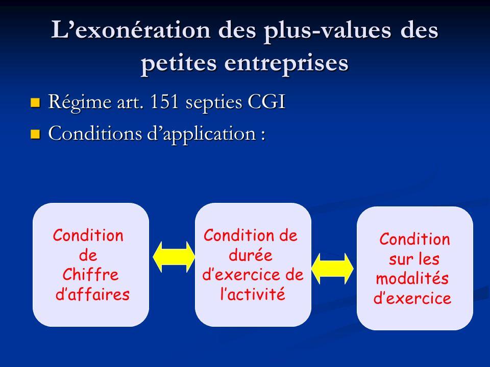 L'exonération des plus-values des petites entreprises