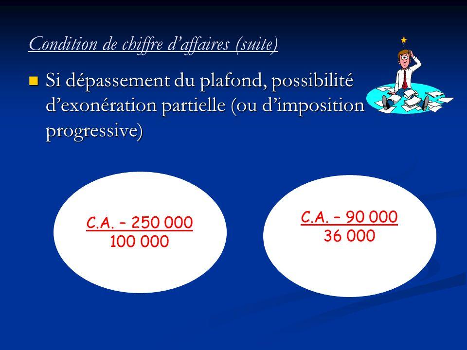 Condition de chiffre d'affaires (suite)