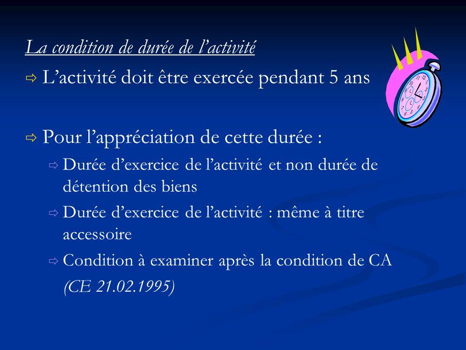 La condition de durée de l'activité