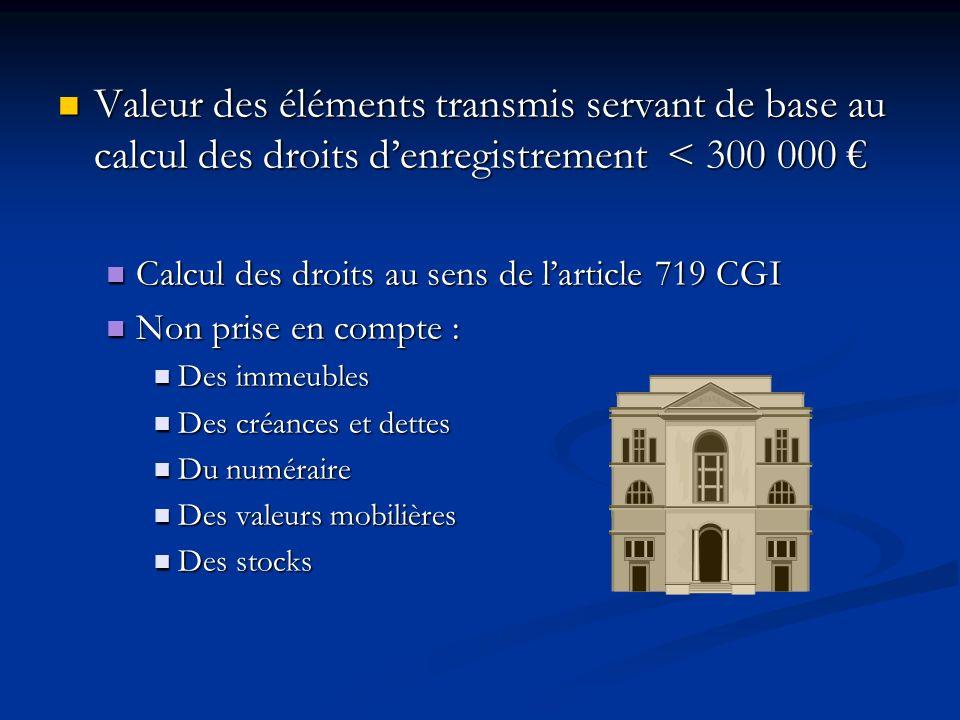 Valeur des éléments transmis servant de base au calcul des droits d'enregistrement < 300 000 €