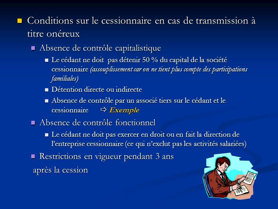 Conditions sur le cessionnaire en cas de transmission à titre onéreux