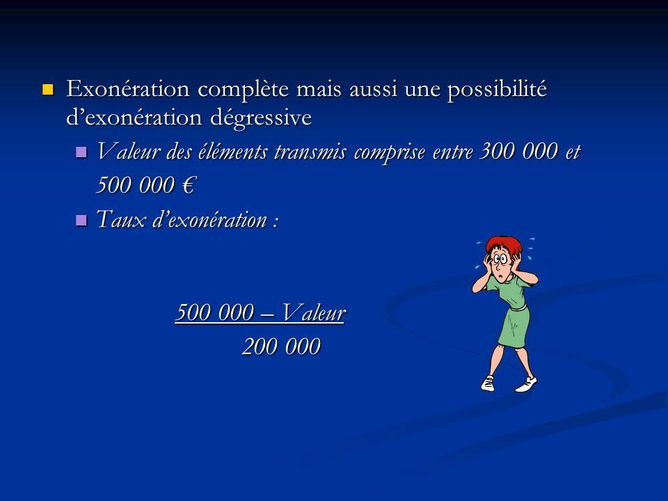 Valeur des éléments transmis comprise entre 300 000 et 500 000 €