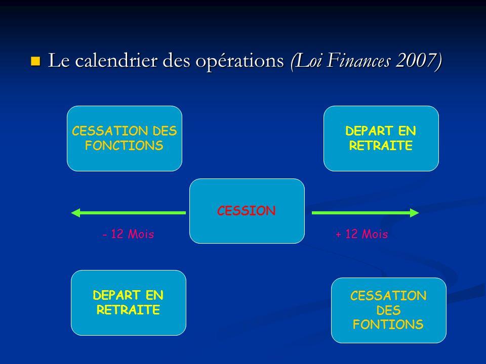 Le calendrier des opérations (Loi Finances 2007)