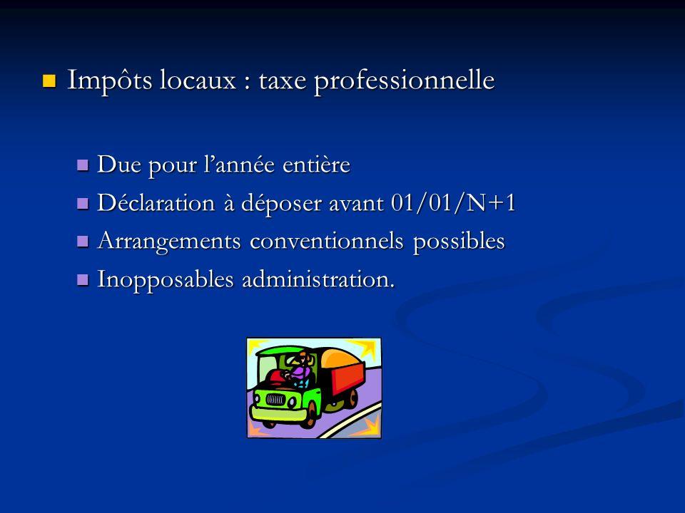 Impôts locaux : taxe professionnelle