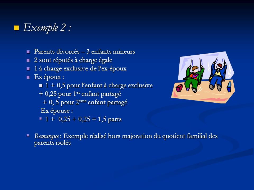 Exemple 2 : Parents divorcés – 3 enfants mineurs