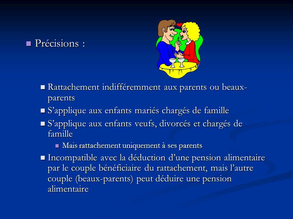 Précisions : Rattachement indifféremment aux parents ou beaux-parents