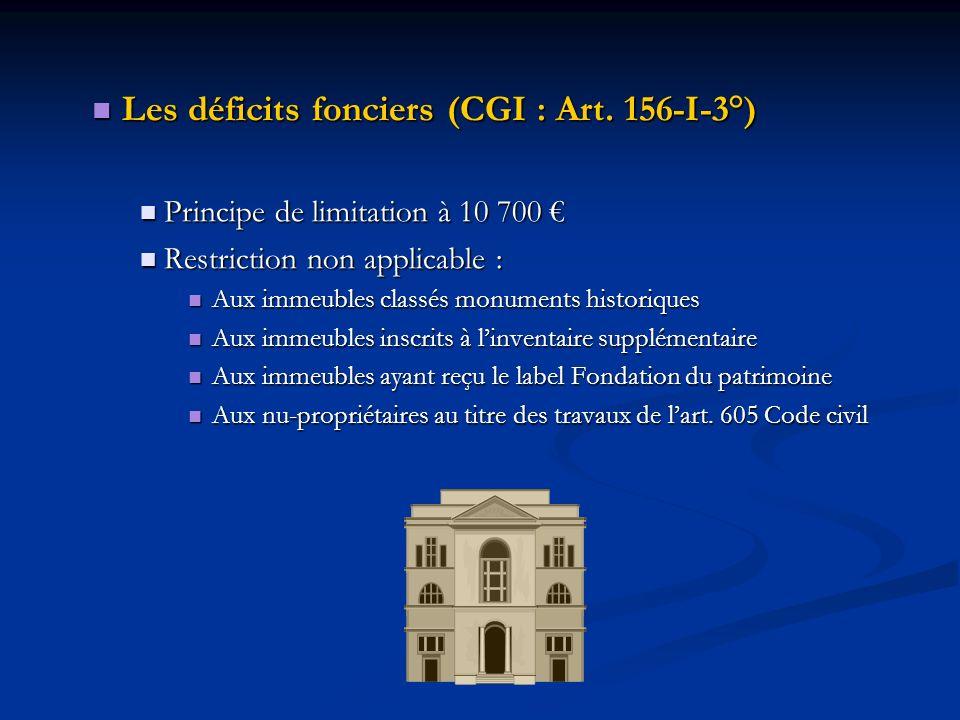 Les déficits fonciers (CGI : Art. 156-I-3°)