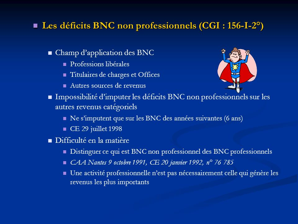 Les déficits BNC non professionnels (CGI : 156-I-2°)
