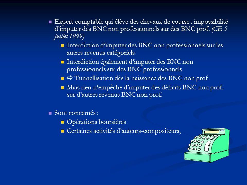 Expert-comptable qui élève des chevaux de course : impossibilité d'imputer des BNC non professionnels sur des BNC prof. (CE 5 juillet 1999)