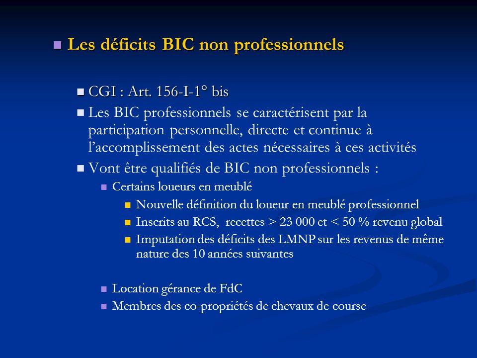 Les déficits BIC non professionnels