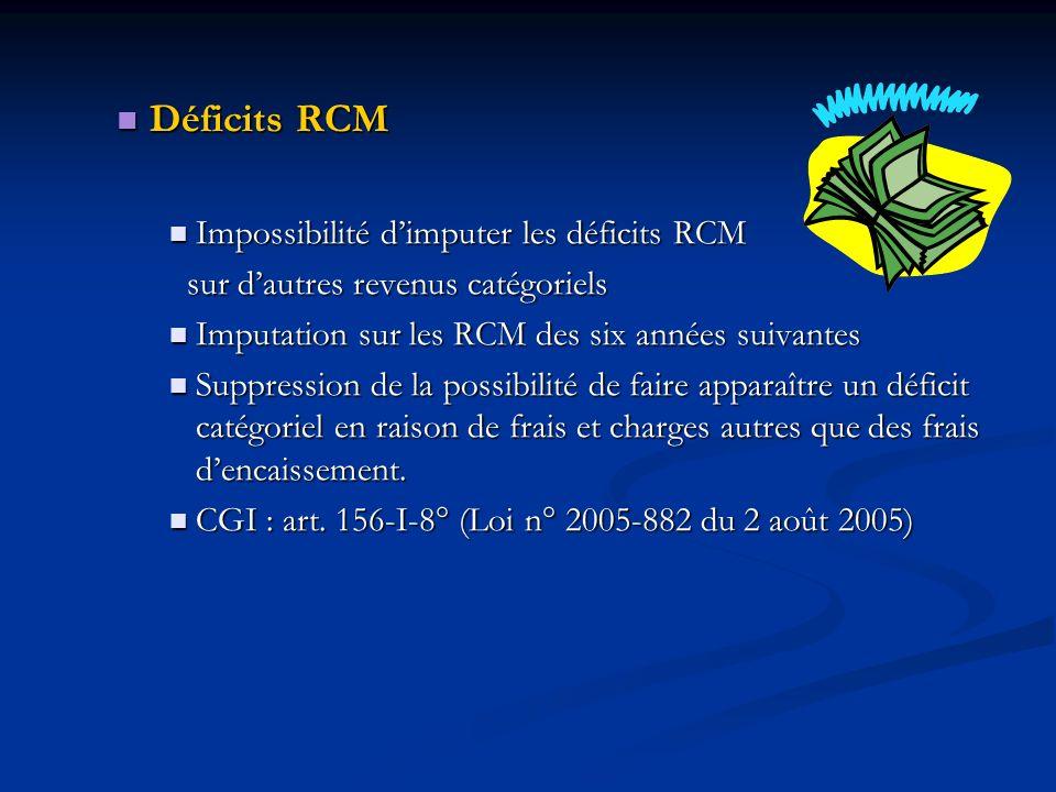 Déficits RCM Impossibilité d'imputer les déficits RCM